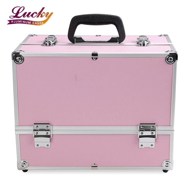 Makeup Case Large pink- Cosmetic Organizer Train Cases Box with 4 Trays - cosmetic case - Foshan Nanhai lucky case factory