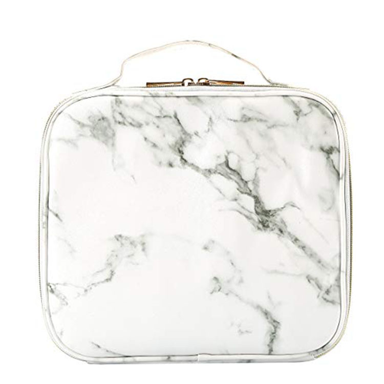 2515ed4d16ee Travel Makeup Case with Adjustable Dividers White Marble Makeup ...