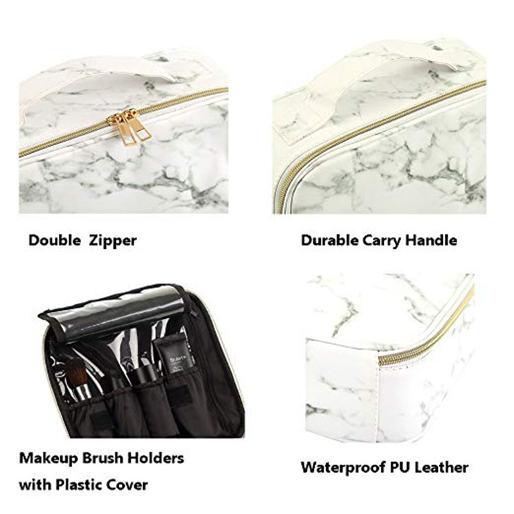 4973137db816 Travel Makeup Case with Adjustable Dividers White Marble Makeup ...